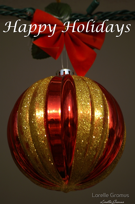 Red and Gold Holiday Card by Lorelle Gromus