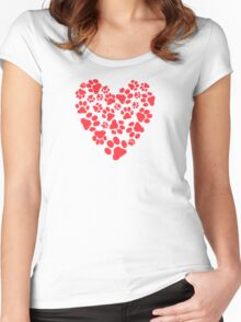 Dog Paw Prints Heart Women's Fitted Scoop T-Shirt