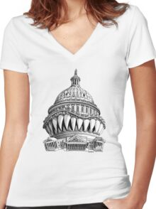 Angry Washington Women's Fitted V-Neck T-Shirt