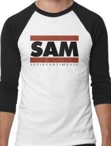 """SAM """"YAH'S VOICES COLOR"""" (WHT Plain 2) Men's Baseball ¾ T-Shirt"""