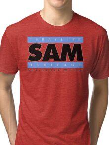 SAM REAL MUSIC  BLK LETTERS(Plain 1) Tri-blend T-Shirt