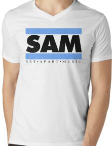 SAM REAL MUSIC  BLK LETTERS(Plain 2) Mens V-Neck T-Shirt