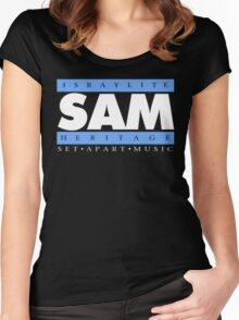 SAM REAL MUSIC  WHT LETTERS(plain 1) Women's Fitted Scoop T-Shirt