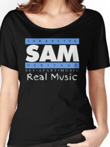 SAM REAL MUSIC  WHT LETTERS Women's Relaxed Fit T-Shirt