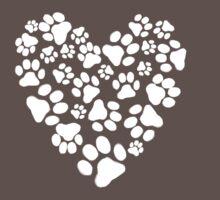 Dog Paw Prints Heart by Jenn Inashvili