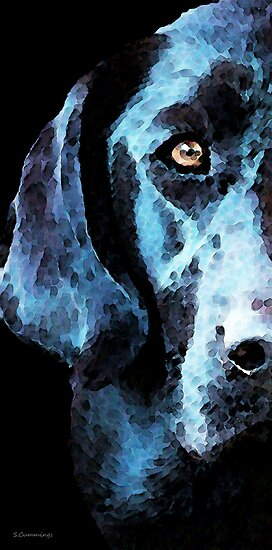 Black Labrador Retriever Dog Art - Hunter by Sharon Cummings