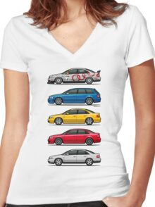 Stack of Audi A4 B5 Type 8d Women's Fitted V-Neck T-Shirt