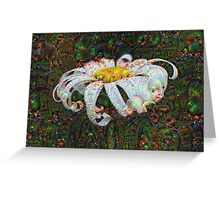 White Petal Machine Dreams Greeting Card