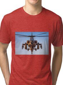 Apache AH-64A (Peten) Helicopter in flight Tri-blend T-Shirt