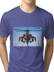 Apache AH-64A (Peten) Helicopter in flight Tri-blend T-Shirt