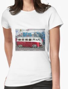 VW BUS red low and cool Womens Fitted T-Shirt