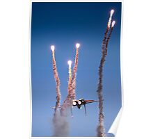 Israeli Air force F-15I Fighter in flight Emitting anti-missile flares Poster