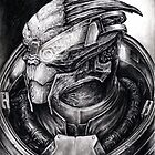 Garrus Portrait in Charcoal 2 - Print by efleck