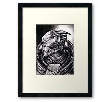 Garrus Portrait in Charcoal 2 - Print Framed Print