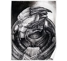Garrus Portrait in Charcoal 2 - Print Poster