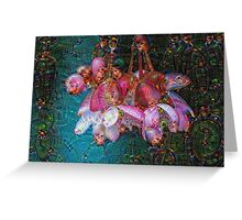 Hanging Pink Flowers Machine Dreams Greeting Card