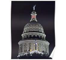 Texas State Capitol Dome at Night Poster