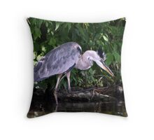 Fishing Heron Throw Pillow
