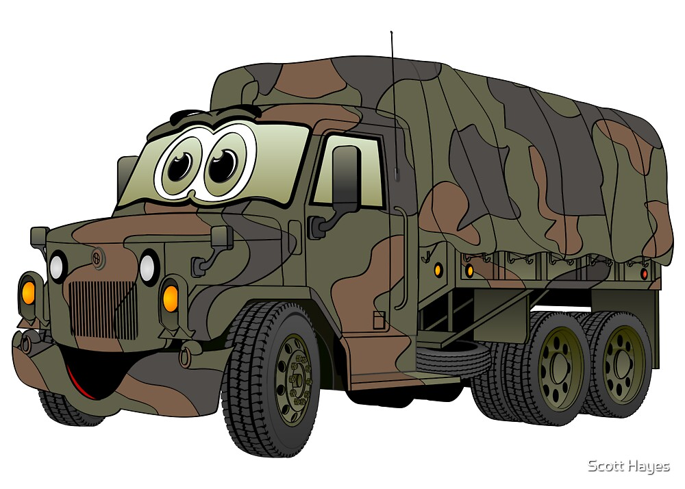 Military Troop Truck Cartoon by Graphxpro