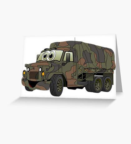 Military Troop Truck Cartoon Greeting Card