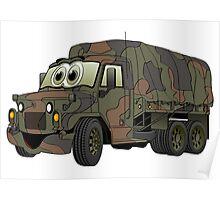 Military Troop Truck Cartoon Poster