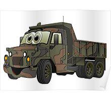 Military Dump Truck Cartoon Poster