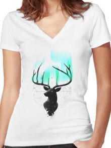 Northern Lights Women's Fitted V-Neck T-Shirt