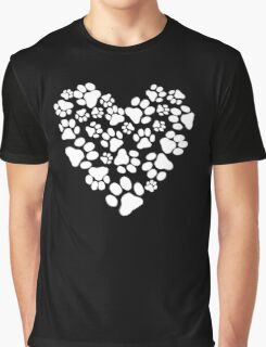 Dog Paw Prints Heart Graphic T-Shirt