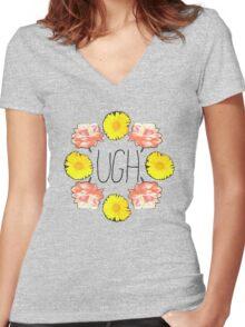 Floral Ugh Women's Fitted V-Neck T-Shirt