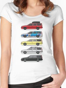 Stack of Volvo 850R 855R T5 Turbo Station Wagons Women's Fitted Scoop T-Shirt