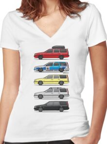 Stack of Volvo 850R 855R T5 Turbo Station Wagons Women's Fitted V-Neck T-Shirt