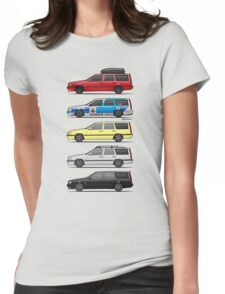 Stack of Volvo 850R 855R T5 Turbo Station Wagons Womens Fitted T-Shirt