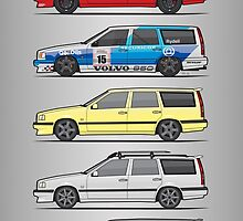 Stack of Volvo 850R 855R T5 Turbo Station Wagons by Tom Mayer