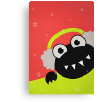 Cute Winter Bug With Earflaps Canvas Print