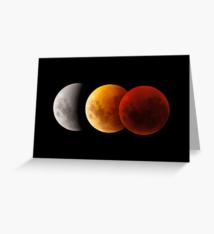 Lunar Eclipse - Three Moons Greeting Card
