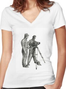 Travel and adventure with a camera. Women's Fitted V-Neck T-Shirt