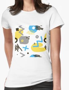 Modern hand draw colorful abstract seamless pattern  Womens Fitted T-Shirt