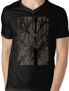 Tree with empty branches in dark cold night  Mens V-Neck T-Shirt