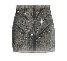 Tree with empty branches in dark cold night  Mini Skirt
