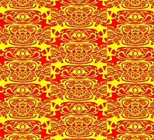 A Red & Yellow knotwork (c116a), duvet, etc. design  by Dennis Melling