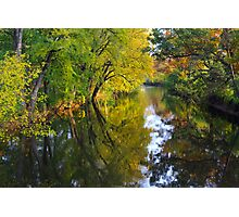 Fall colors reflected along the Red Cedar River Photographic Print