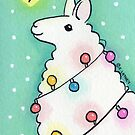 Festive Llama with Christmas Lights by zoel