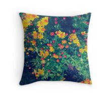 Multicolored meadow whimsical wild daisy flowers Throw Pillow