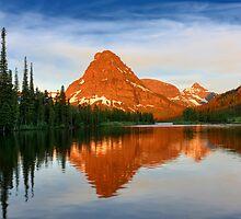 Reflected Sunrise on Sinopah Mountain, Glacier National Park by Daniel Arthur Brown
