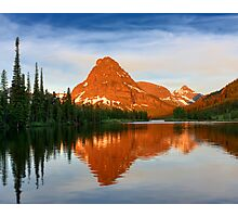 Reflected Sunrise on Sinopah Mountain, Glacier National Park Photographic Print