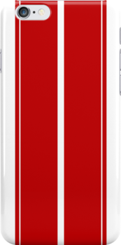 Red Racing Stripes on White iPhone/iPod case by Haz Preena