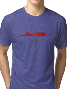 Fort Worth skyline in red Tri-blend T-Shirt