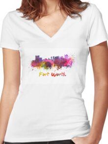 Fort Worth skyline in watercolor Women's Fitted V-Neck T-Shirt