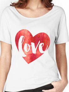 WATERCOLOUR LOVE HEART modern brush script typography Women's Relaxed Fit T-Shirt