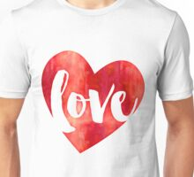 WATERCOLOUR LOVE HEART modern brush script typography Unisex T-Shirt